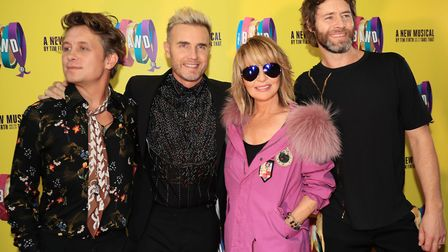 (Left-right) Mark Owen, Gary Barlow, Lulu and Howard Donald attending the press night of Take That's