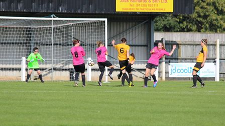 Action from the match between Fakenham Town Ladies and Thorpe United Ladies in Division One. Picture