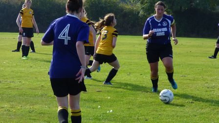 Action from the match between Briston Ladies and Hellesdon Belles in theLadies 7s division. Picture: