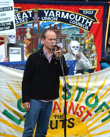 The Pay Gap March in Lowestoft. Parade organiser. Pictures: Mick Howes
