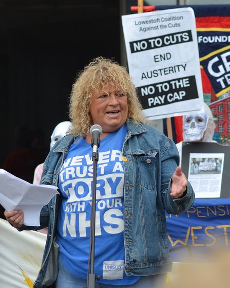 One of the speakers at the Pay Gap March, Sala Millican Unison Branch Secretary at JPH. Pictures: Mi