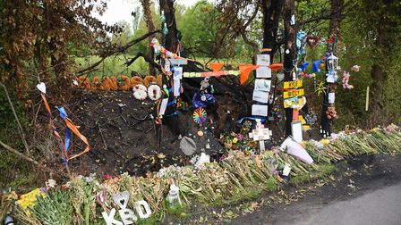 The site of the fatal accident of the three teenagers, Kyle Warren, Billy Hines and Dominic O'Neill