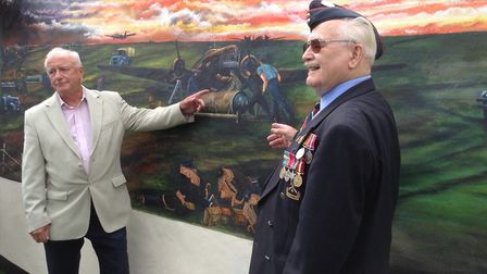 Artist Colin Mason and 93 year old war veteran Ivan Porter at the unveiling. Picture: Elizabeth Maso