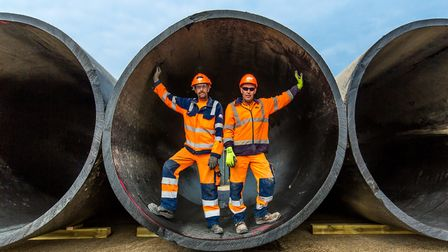 Jerry Anaman and Anthony Wilson pictured in one of the industrial pipes salvaged from the North Sea