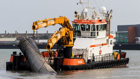 Industrial pipes salvaged from the North Sea being cut and prepared at ABP's Port of Lowestoft.Pic