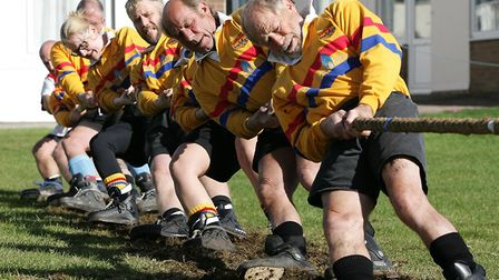Competitors dig their heels in during last year's competition. Picture: Rob Colman