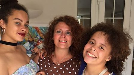 Ashley Barzey, right, with her mother Nicky, and sister Lauren. Photo: Nicky Rolph