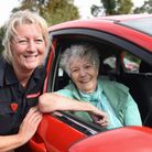 Georgina , 79, who has dementia, at the wheel, with Kristie Burdett, community safety manager for No