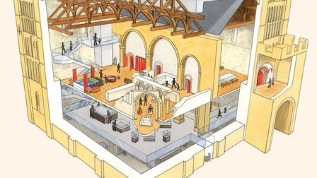 Norwich Castle as Royal Palace: An artist's impression of the Castle Keep with the reinstated Norman