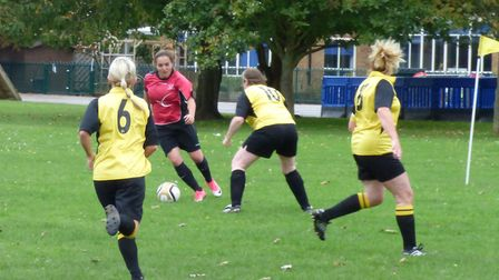 Action from Costessey Ladies' 5-0 win over Hellesdon Belles Ladies in the Women's 7-a-side league. P