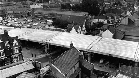 Magdalen Street flyover under construction 30 years ago. Original caption: The long-awaited, much-ta