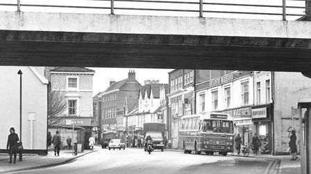 Norwich Streets -- M Magdalen Street at Stump Cross looking towards the city centre with the flyo