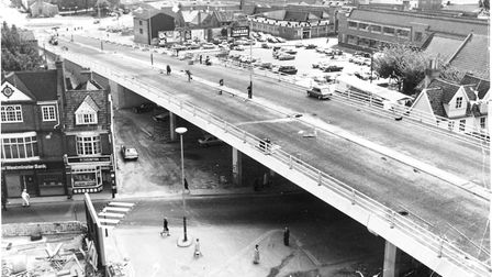 Norwich Streets -- M Magdalen Street beneath looking at the elevated section of the flyover with