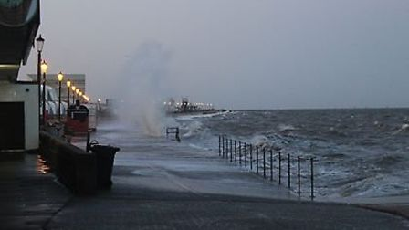 Waves crashing against the shore in Hunstanton. Picture: Derry O'Brien