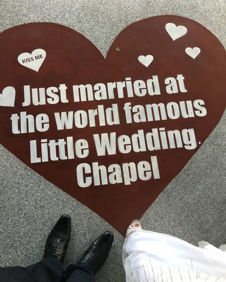 Philip Dyer travelled to Las Vegas to tie the knot with his partner, Vanessa. Picture: Courtesy of