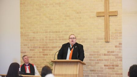 Deputy Mayor, David Pritchard speaking at the opening of the new Crematorium in Cromer. Picture: Ian