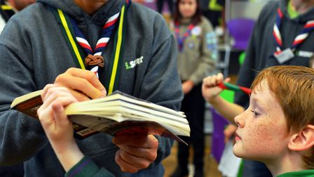 He's cool: Chief Scout Bear Grylls meets at young fan on a visit to Great Yarmouth in 2013.