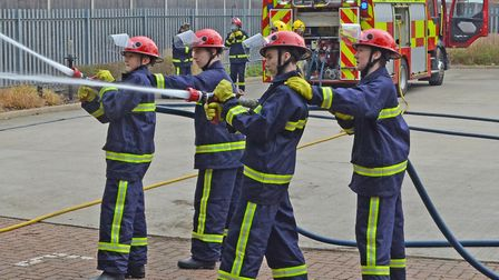 Norfolk Fire and Rescue cadets in action. Picture: MICK HOWES