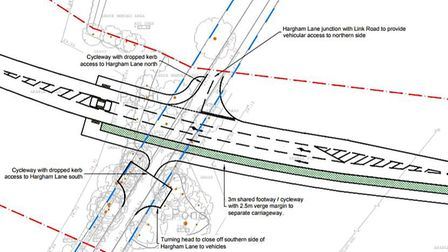 The proposed juction of the planned link road with Hargham Road, south of Attleborough. Picture: Tra