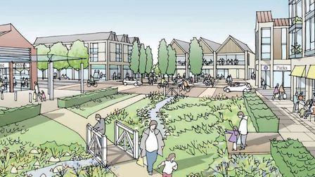 An artist's impression of the local centre, part of the planned 4,000 development for Attleborough.