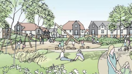 An artist's impression of the linear park, part of the planned 4,000 development for Attleborough. I