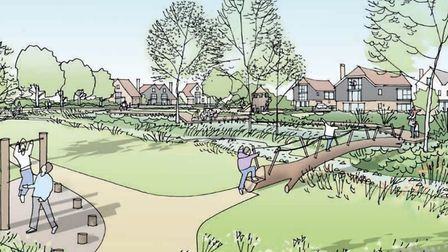 An artist's impression of the wetland corridor, part of the planned 4,000 development for Attleborou