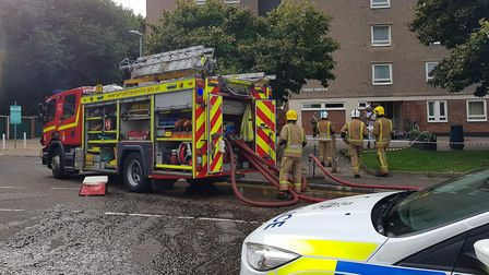 A fire at Normandie Tower, Norwich. Picture: Marc Betts
