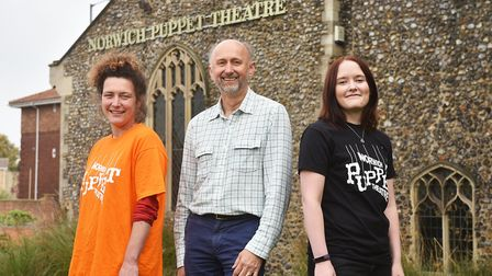 Norwich Puppet Theatre. Operations manager Ian Woods with volunteers Kate Denbigh, left, and Elinor