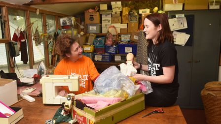 Norwich Puppet Theatre. Volunteers Kate Denbigh, left, and Elinor Goodhead in the workshop.Picture: