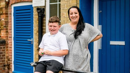 Blake Pain with his teacher Amy Condra. Picture: NHS Foundation Trust