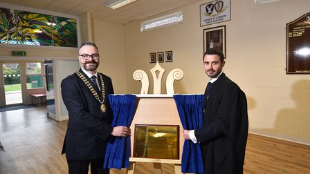 Thorpe St Andrew town mayor, Ian Mackie, left, opens the town council's new home at Fitzmaurice Pavi