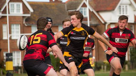 The impressive Callum Anthony in the thick of the action for Southwold against Wymondham. Picture: L