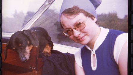 Jean Edwards while on honeymoon on the Broads in 1977 with the couples dog Peter. Picture: Courtesy