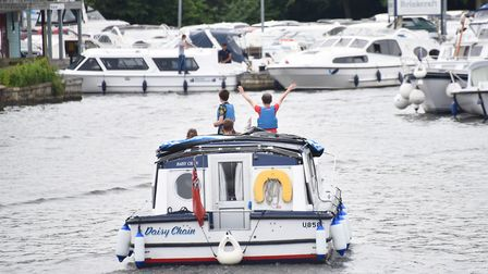 People enjoying the warm weather on the River Bure at Wroxham. Picture : ANTONY KELLY