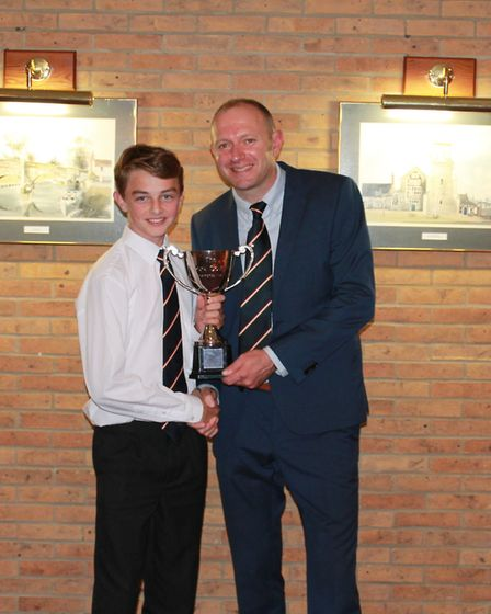 Freddie Fairey receives his performance of the year award from Chris Brown. Picture: Lewis Denmark