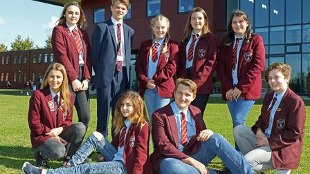 North Walsham High School students sporting denims and trainers for Jeans for Genes Day. Picture: NO