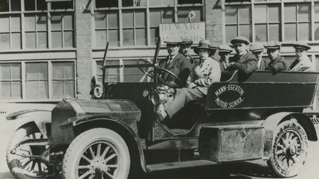 The first driving school in the country. Note the two steering wheels, c1919. Picture: Archant libra