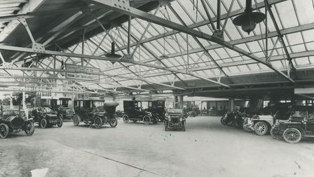 A view of the main garage at Prince of Wales Road, Norwich, which accomodated 200 cars. Dated c.1912