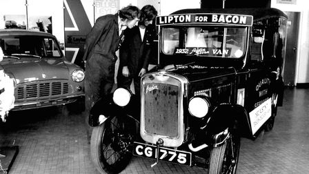 A 1932 Austin Seven delivery van, pictured at the Mann Egerton Commercial Vehicle show. 1975
