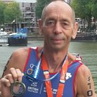 Brian Tate, of Beccles Triathlon Club, with his gold medal from the ITU World Age Group Sprint Triat