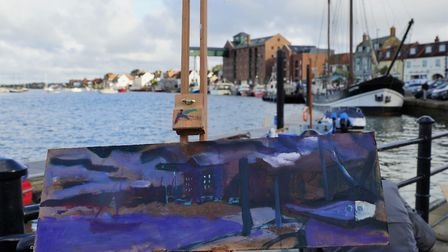 Artist Jack Godfrey's first prize painting in progress at Wells-next-the-Sea, Norfolk Paint Out Well