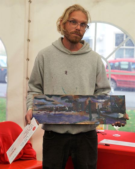 Artist Jack Godfrey wins First prize at Paint Out Wells 2017. Picture: Katy Jon Went