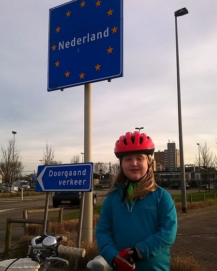 Georgia Stallard, from Norwich, taking a break during her epic cycle in the Netherlands. Picture: PE