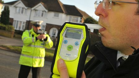 Former Norfolk chief constable Philip Gormley with a breath test machine. Photo by Simon Finlay