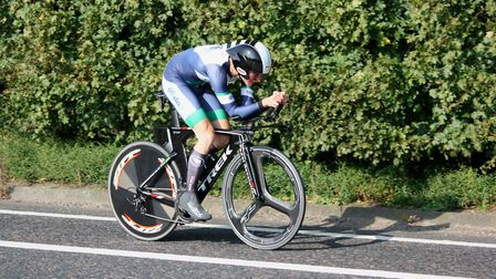 Harley Matthews on his way to a new course record at the Godric CC 25. Picture: Dominic Austrin