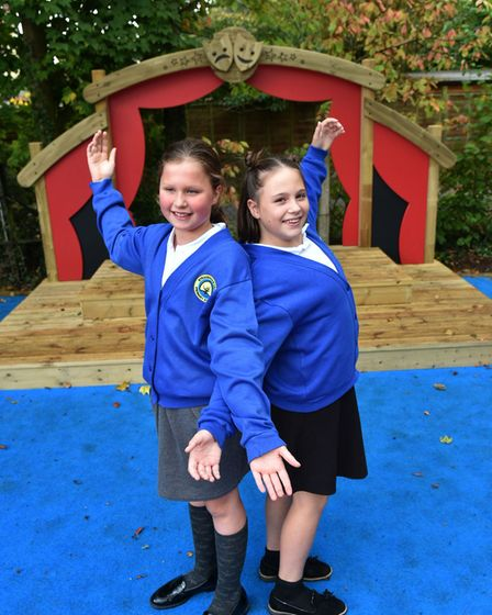 Stradbroke Primary School unveil their new outdoor stage.Faith Eagle and Ella Snelling