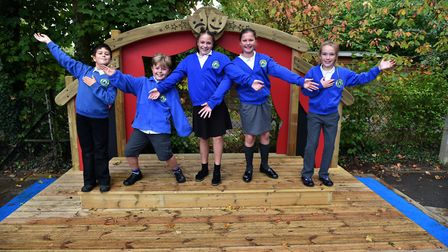Stradbroke Primary School unveil their new outdoor stage.Tom Phillips, Will Kingdom, Faith Eagle, E