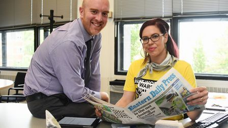 EDP editor, Dave Powles, with Natasha Devon, guest editor for the mental health take over of the EDP