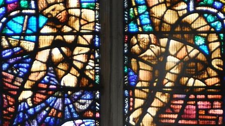 Detail from a window in Great Yarmouth Minster of the disciples fishing.
