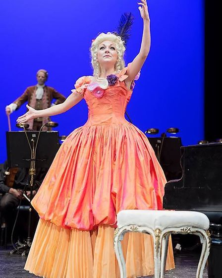 Christina Johnston performs as Katerina in Prague Shakespeare Company's Broadway production of Amade